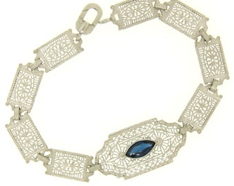 """Antique Edwardian 10k White Gold 7"""" Filigree Etched Link Belly Bracelet w/ Synthetic Marquise Cut Sapphire"""