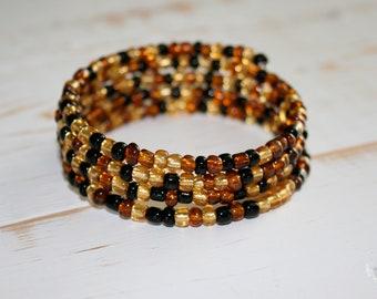 Amber Czech Glass Memory Wire Bracelet, Amber bracelet, Beaded Cuff, Fall accessory