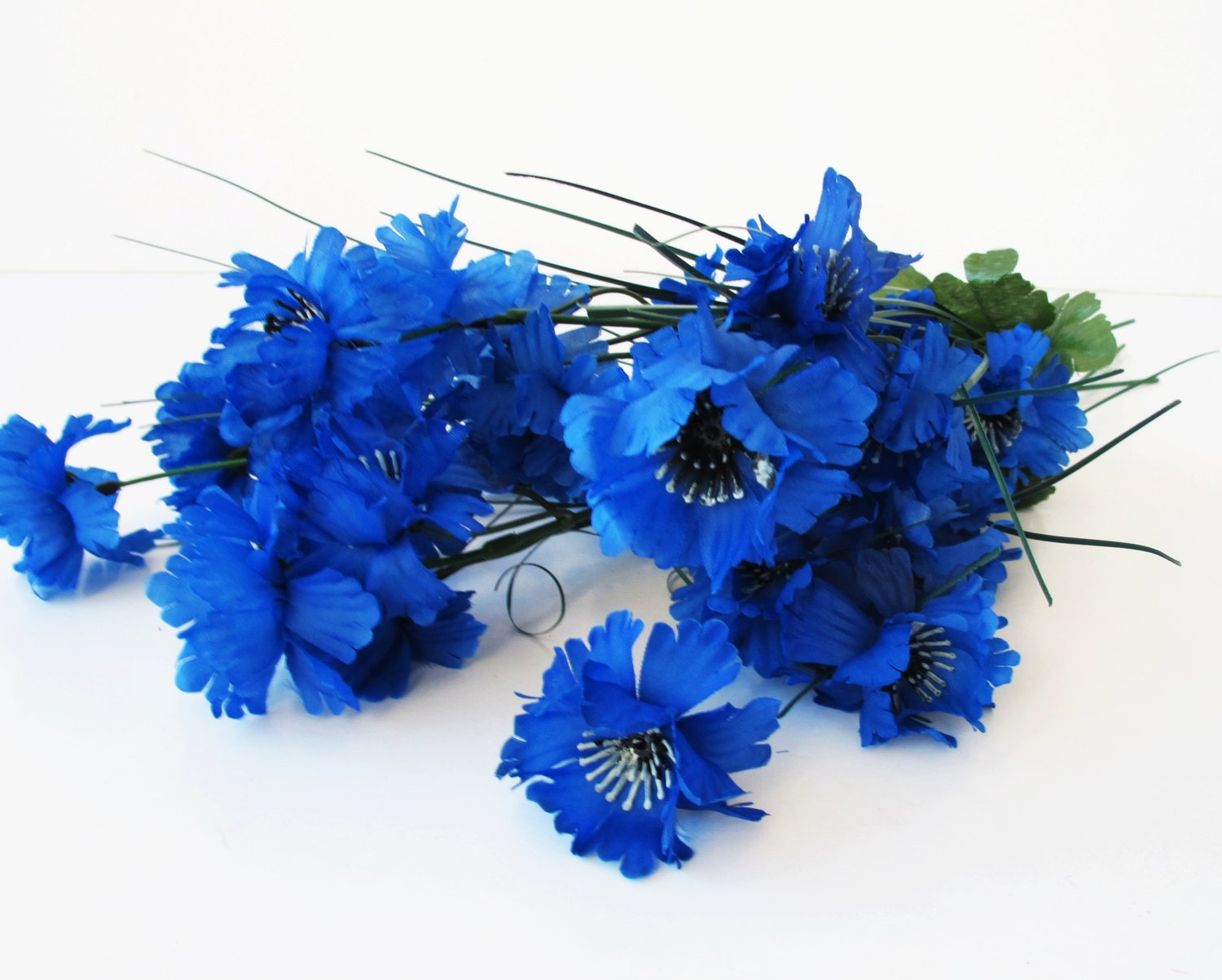 10 blue cornflower branches each 7 blossoms with leaves artificial sold by royalflowersstudio izmirmasajfo Gallery