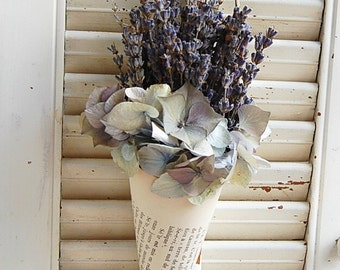 Dried French Lavender In Vintage French Book  Cone / Dried Lavender Arrangement