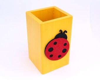 Ladybug Wooden Cup