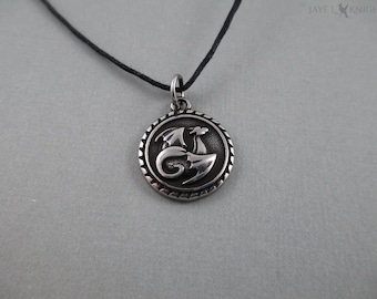 Round Dragon Charm Necklace - Silver