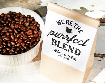 The Purrfect Blend - Cat Lover, Coffee Lover, Wedding Favor labels- 24 Perfect Blend Stickers