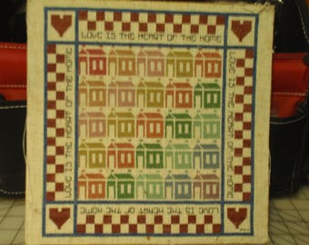 """Vintage cross stitch with """"Love is the Heart of the Home"""""""