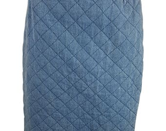 GECON Vintage Quilted Denim Pencil Skirt (UK 12)
