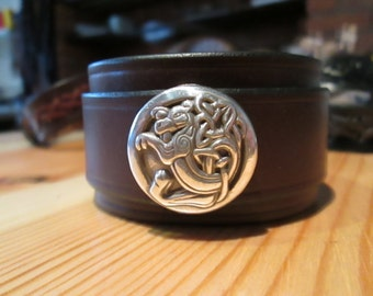 Kells dragon leather cuff bracelet - Kells dragon