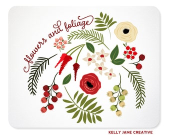 Christmas Flowers & Greenery Clip Art - Botanical Clipart | Holiday florals
