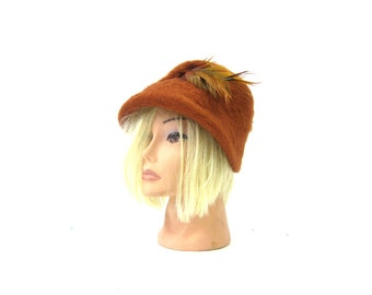 Vintage 1960s Wool Hat Rust Brown Womens Dress Hat merri soie Mid Century Mad Men Fall Fashion Hat with Feather Wool Hat Small Medium