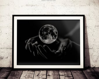 Abstract Black and White Photograph, Moon Wall Decor, Black and White Wall Art, Fantasy Art Print, Modern Art Print, Black and White Moon