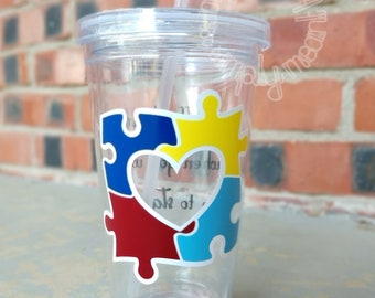 Autism Awareness Love Plastic Tumbler With Lid And Straw, Gift, Dr. Seuss