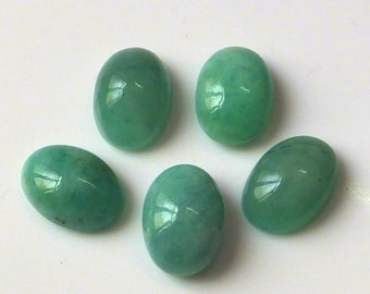 5 Pieces 14X10 MM Oval Shape Natural Brazilian Green Emerald Cabochon Cut Calibrated Gemstone Wholesale Lot 10X14 MM Oval Cabs Stone