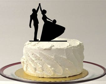 MADE In USA, High Five Wedding Cake Topper, Silhouette Wedding Cake Topper, Bride and Groom Wedding Cake Topper, Silhouette Cake Topper