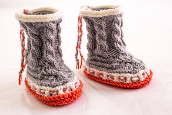 Knitting Pattern Baby Boots High Top Booties Cable Baby
