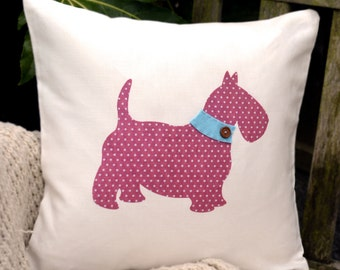 """HALF PRICE! Scottie Dog Cushion - Polka Dot Pink & Baby Blue Collar , """"The Scotties of McDawg"""" Collection, Tamsin Reed Designs"""