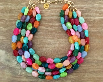 Multi Color Bead Necklace – Chunky Beaded Necklace Handmade in Orange Beads, Spring 2018 Fashion
