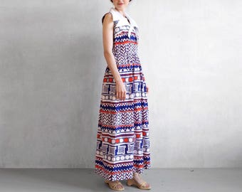 Blue long dress / red white and blue maxi dress / 70s maxi dress / long mod dress / nautical dress