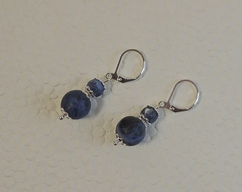 Blue sodalite and silver Pearl Earrings