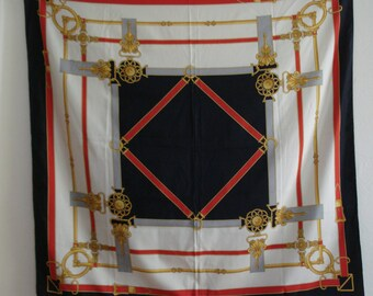 VINTAGE Big Status look SCARF. Made in ITALY silky feel scarf. Black, ivory, red, gray, gold colors. 35 x 35 Scarf.