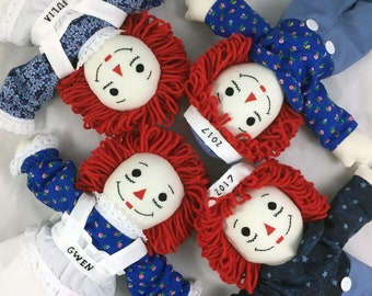 "15"" Raggedy Ann Doll OR Raggedy Andy Doll - Handmade, Made to Order, Free Personalization, 125+ outfit fabrics to choose from!"