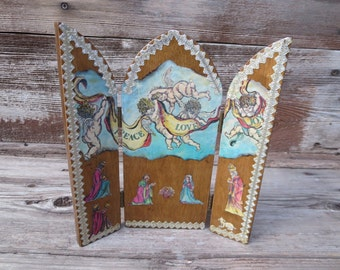 Nativity Scene - Christmas Decoration - Decoupage Christmas - Desktop Nativity - Tabletop Nativity