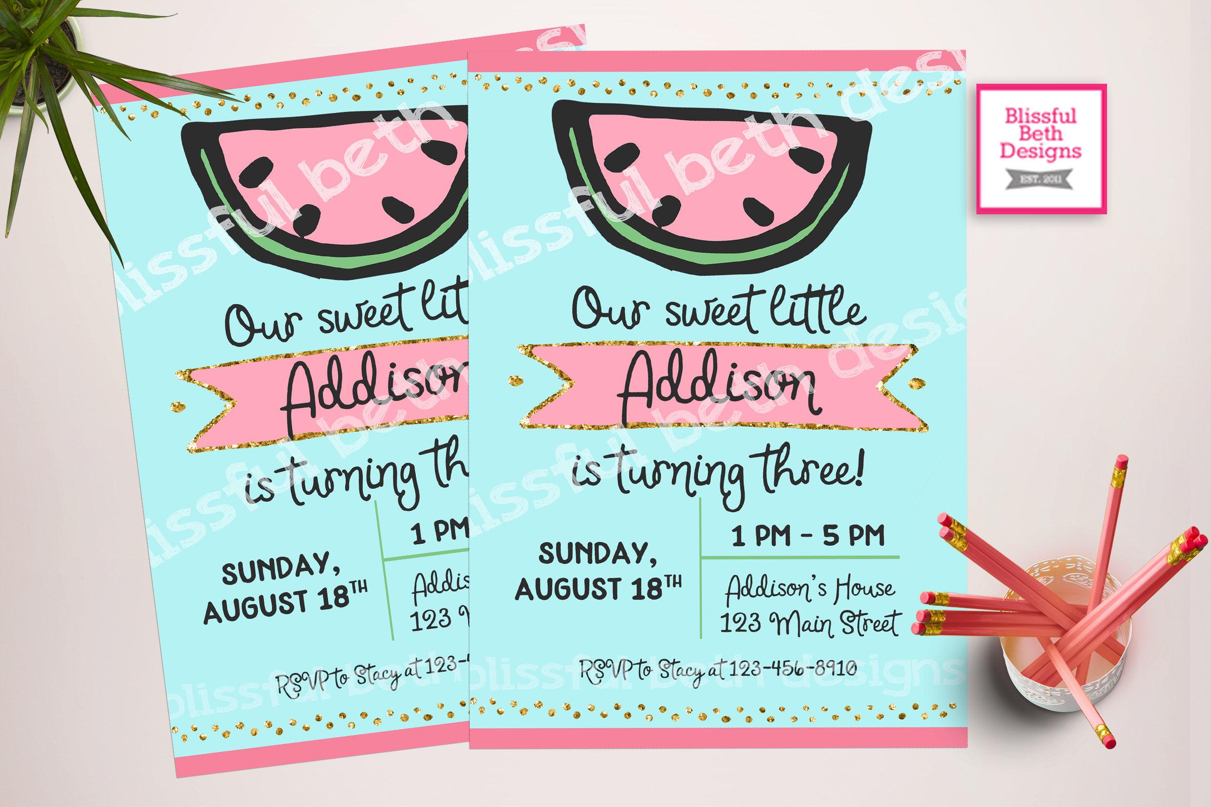 WATERMELON BIRTHDAY INVITATION, Sweet Girl Birthday Invitation ...