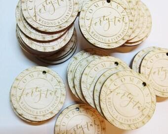 50 - 1.5 x 1.5 Custom Wood Tags - Custom Engraved Tags - Wood Gift Tags