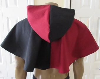 Hooded Cowl Dark Red and Black Elven Medieval Woodland