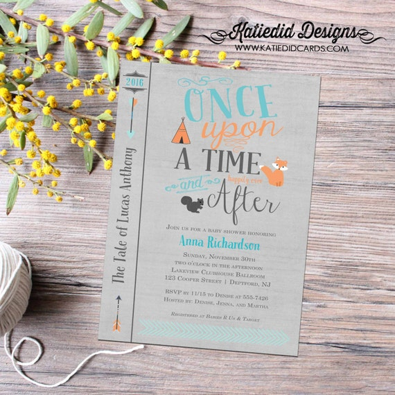 storybook surprise gender reveal once upon a time baby shower woodland animals invite tribal arrows invite diaper wipe 12116 Katiedid Design