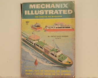 Mechanix Illustrated Magazine, February 1955 - Great Condition, Tips,  Science, Technology, Vintage Ads, Tractor Trailer Houseboat