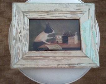 Reclaimed Lumber Frame with Rabbit Print