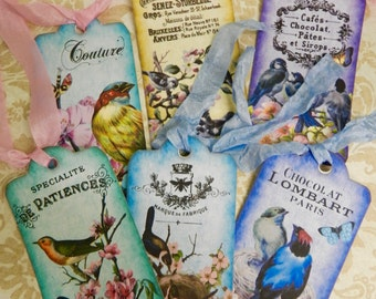 Bird Gift Tags French Gift Tags Set 6 Seam Binding Ribbon Hang Tags French Inspired