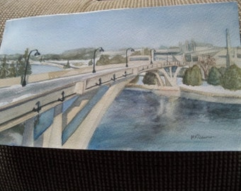 nice small water color signed  scenic view