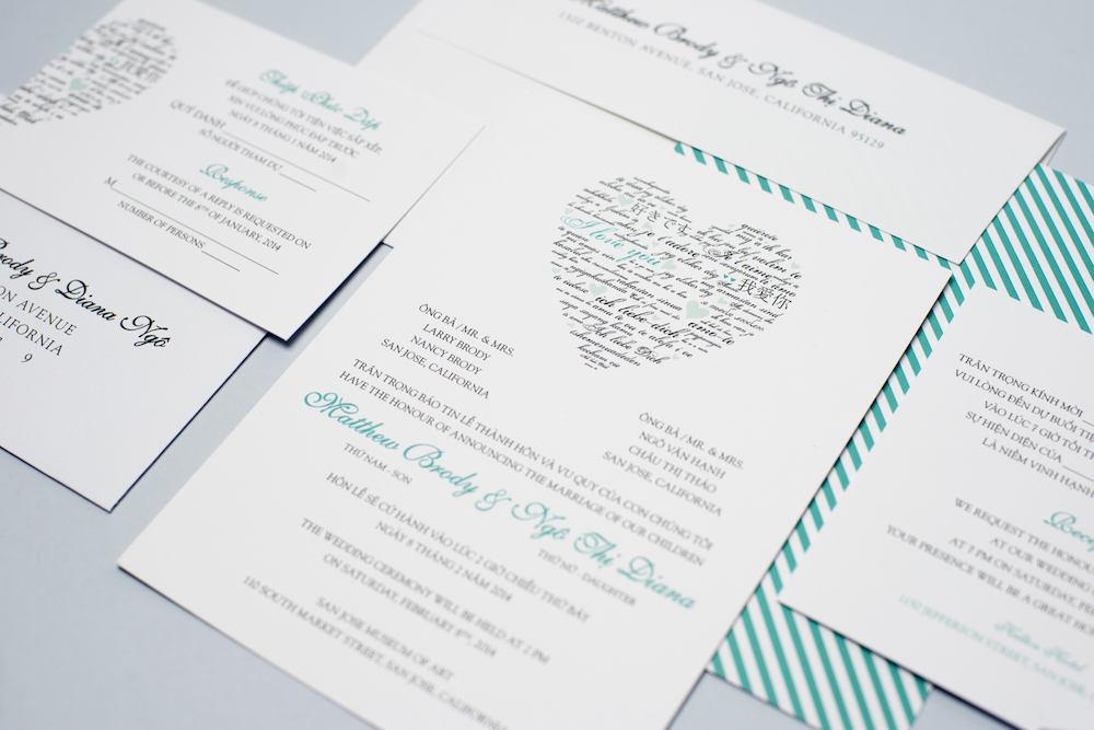Bilingual Wedding Invitations: Sample Bilingual Vietnamese Wedding Invitation Set Love