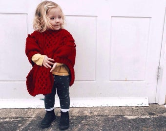 Cabled Poncho 0-9 Month up to 5-7 years