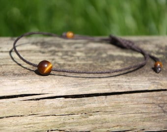 Tigers eye bracelet ~ beaded bracelet ~ adjustable bracelet ~  friendship bracelet ~ petite bracelet ~ string bracelet ~ Hemp bracelet