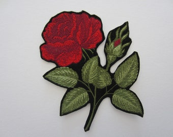 Embroidered Red Rose Iron On Patch, Rose Patch, Rose Applique, Iron On Patch, Roses, American Beauty Rose