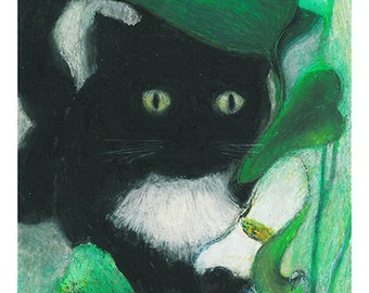 Print of a black cat original illustration