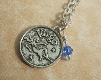 Zodiac Virgo Charm Necklace, August September Birthstone, Peridot or Sapphire Swarovski, Astrology Jewelry, Choose Your Length, Silver