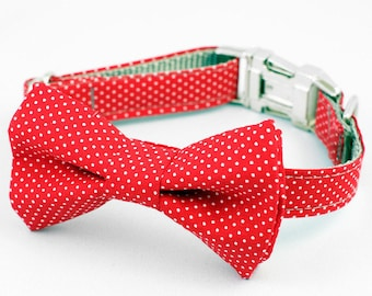 Bow Tie Dog Collar - Red Pin Dot