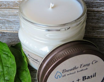 Citrus + Basil // All Natural// Hand Poured //Scented Soy Candle