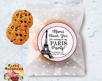 Printable thank you for coming to my paris party cookie label