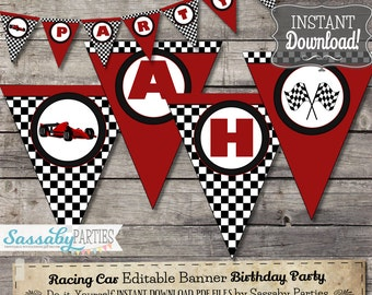Racing Car/Grand Prix Banner - INSTANT DOWNLOAD - Editable & Printable Birthday Party Decorations, Decor, Bunting by Sassaby Parties
