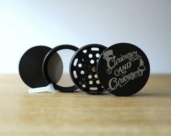 4 Piece Grinder - Alice in Wonderland - Curiouser & Curiouser - Laser Engraved Herb Grinder