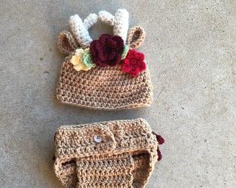 Crochet Deer Hat & Diaper Cover