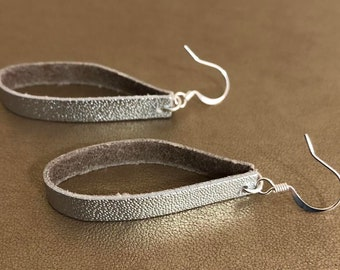 Silver Metallic Leather Earrings