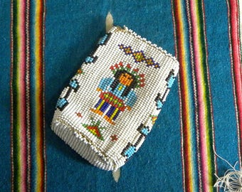 Navajo Seed Bead Pouch Native American, Vintage, Southwestern Style, Beaded