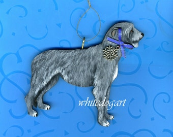 Handpainted Irish Wolfhound Christmas Ornament