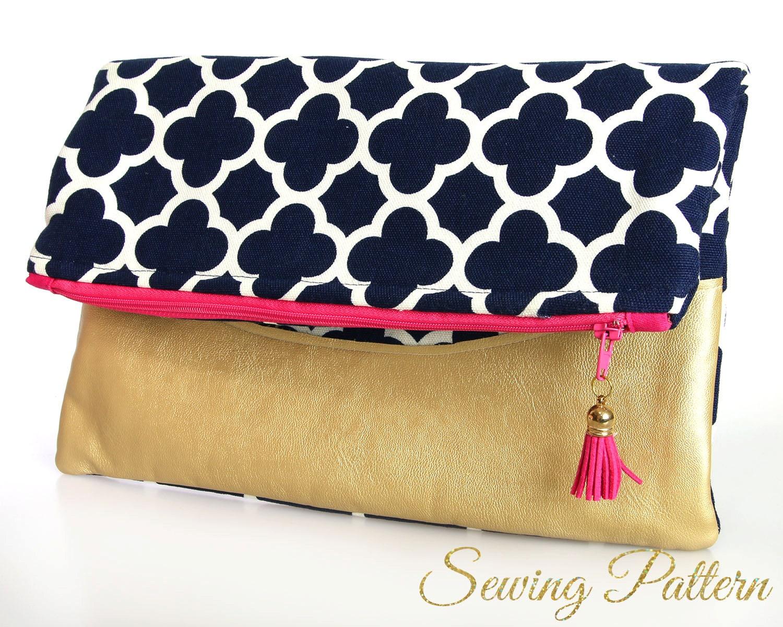 Folding clutch pattern purse pattern sewing pattern pdf bag this is a digital file jeuxipadfo Choice Image