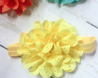 Yellow Eyelet Ruffle Flower Headband