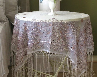 Delightful Fringed Tinsel Swirl Sheer Silk Organza Special Occasion Holiday Christmas  Tablecloth Table Square Piano Shawl Ivory